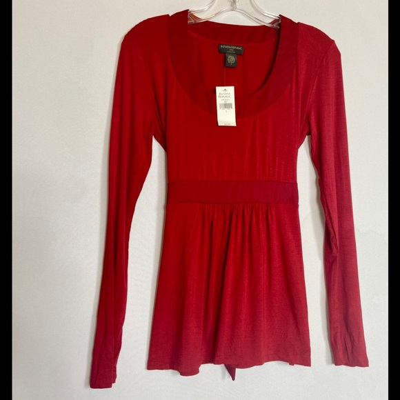 NWT Banana Republic Red Long-Sleeve Blouse w/tie